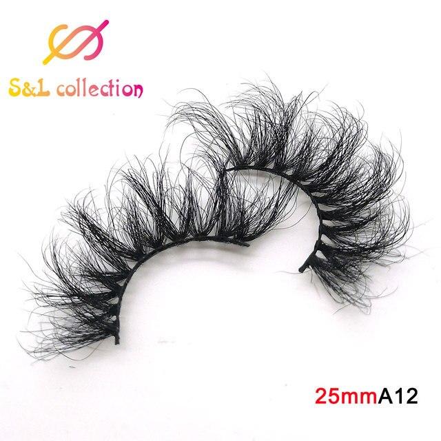 25mm Eyelashes Long 3D mink lashes long lasting mink eyelashes Big dramatic volumn eyelashes strip individual false eyelash 5