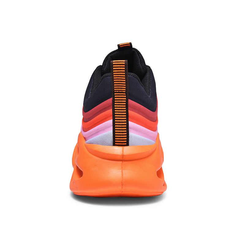 Marka baba ayakkabılar erkekler hafif koşu spor ayakkabı adam 2020 yeni moda Zapatos De Hombre örgü üst renkli erkek ayakkabısı boyutu 46