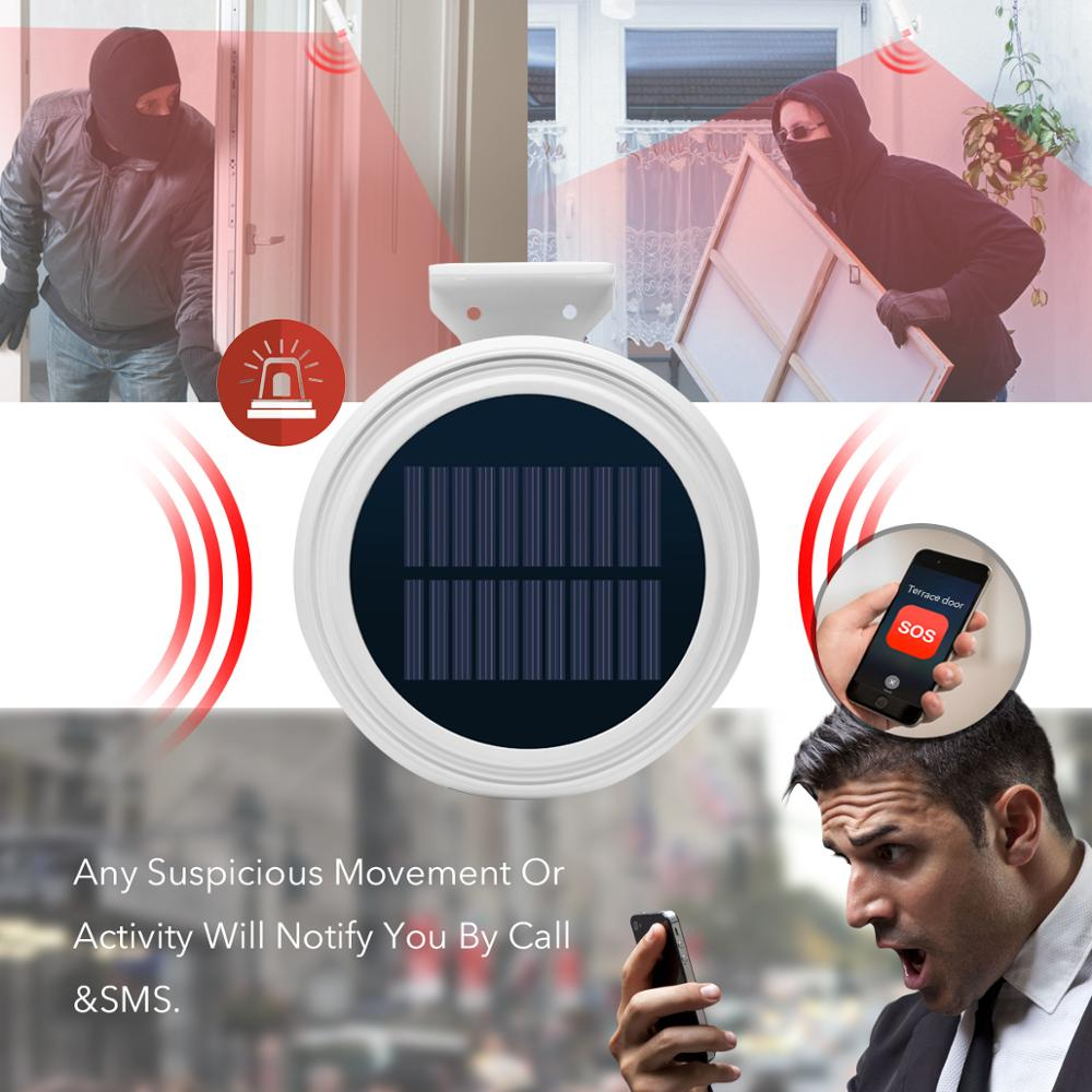 Wireless GSM Alarm System Security Home Solar Strobe Siren Outside Alarm Motion Detector SMS Remote Control For Home/RV/Camping