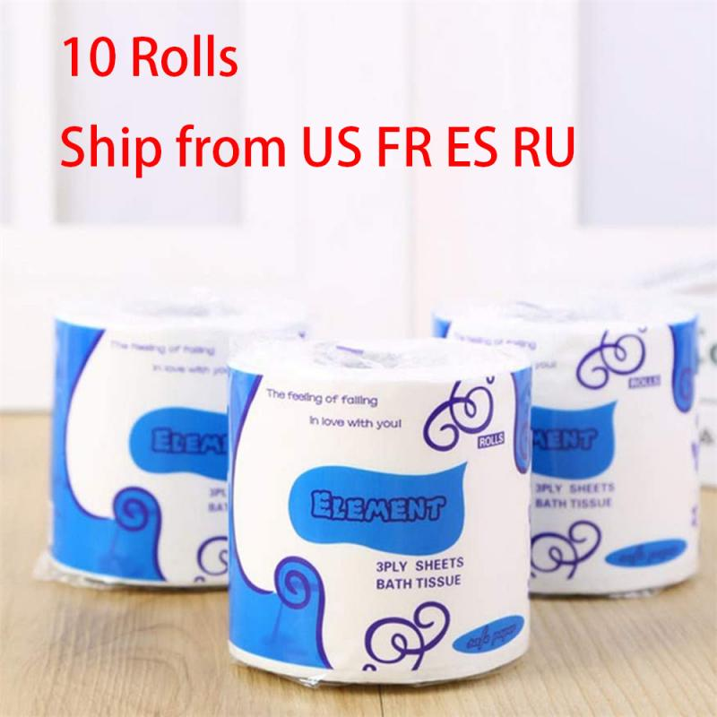 10 Roll 3-Ply Toilet Paper Kitchen Tissue Bathroom Toilet Paper Roll Paper Kitchen Toilet Paper Tissue Towel Toilet Roll Paper