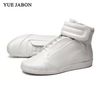 Wysokiej góry buty w stylu casual męskie wysokie góry Hook amp Loop męskie trampki buty z prawdziwej skóry mężczyźni mieszkania buty Zapatallias męskie buty na co dzień tanie i dobre opinie Yue Jabon Skóra bydlęca Gumowe Kożuch Podstawowe Hook loop Mieszane kolory Wiosna jesień Dla dorosłych Pasuje prawda na wymiar weź swój normalny rozmiar
