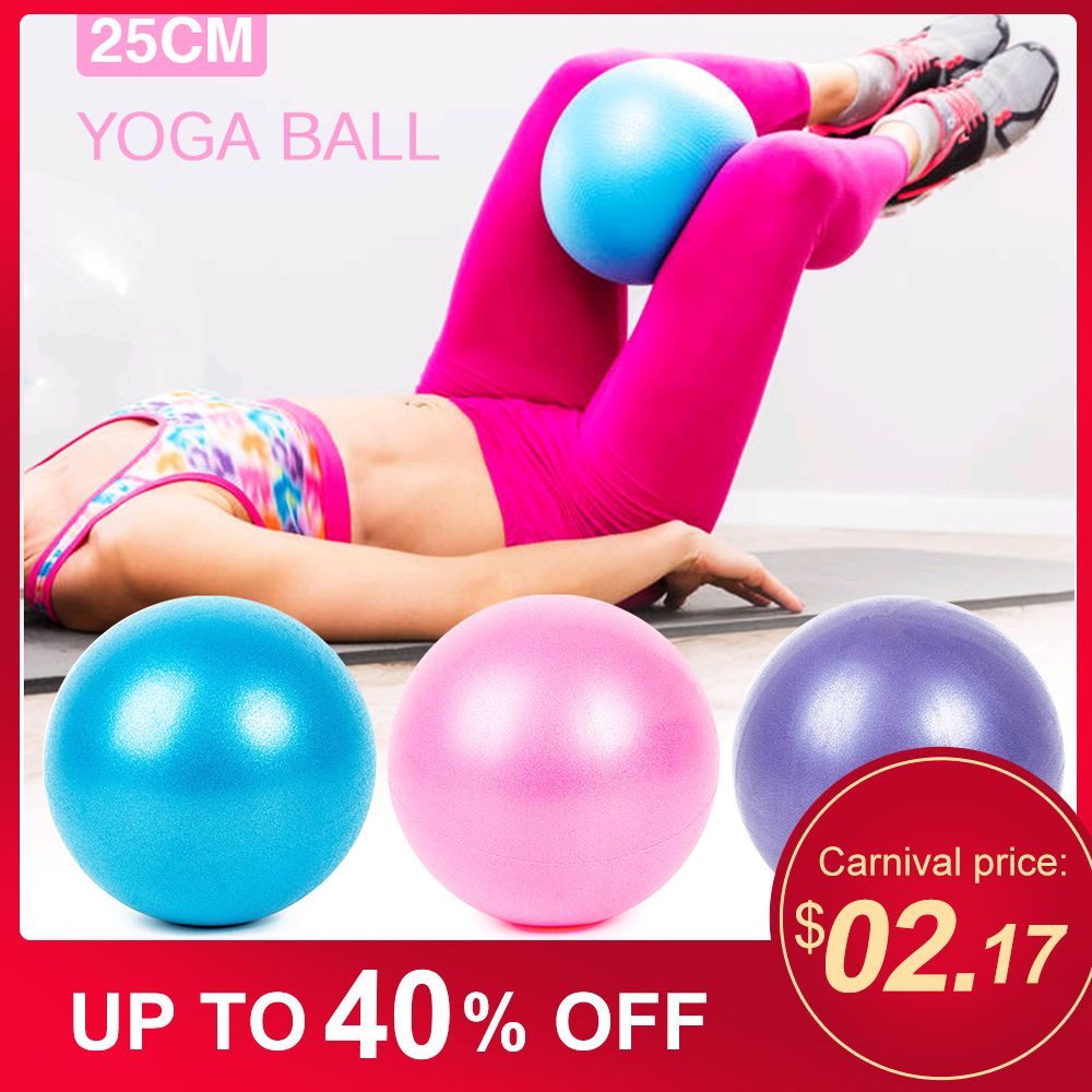 25cm Yoga Ball Pilates Fitness Gym Sports Balance Exercise Indoor Training Yoga Core Ball Anti-burst Thick Stability Mini Ball