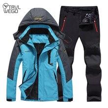 TRVLWEGO Winter Ski Suit Women Windproof Waterproof Snowboard Jacket Pants Outdoor Super Warm 2 in 1 Thermal Fleece Snow Coat стоимость