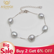 ASHIQI Genuine 925 Sterling Silver Bracelet 9-10mm White Gray Natural Freshwater Baroque Pearl Jewelry For Women(China)