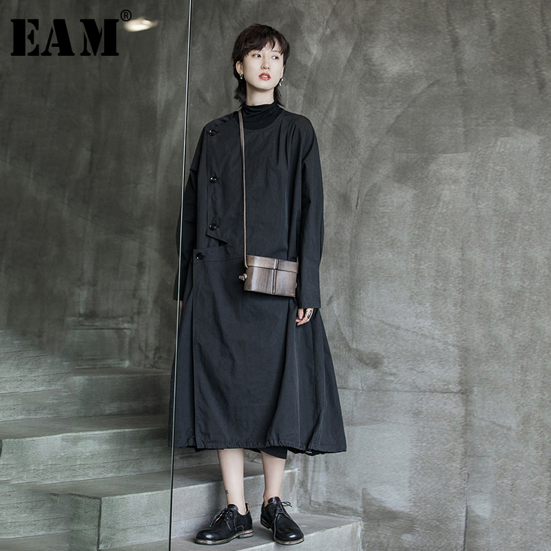 [EAM] Women Black Asymmetric Trench New Lapel Long Sleeve Loose Fit Windbreaker Fashion Tide All-match Spring Autumn 2020 1A522