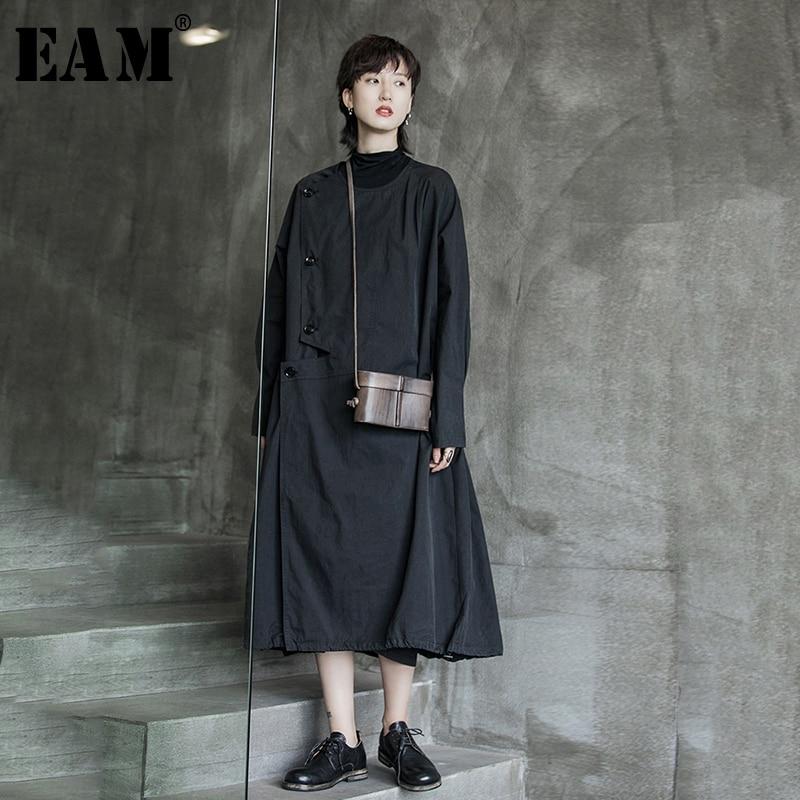 [EAM] Women Black Asymmetric Trench New Lapel Long Sleeve Loose Fit Windbreaker Fashion Tide All-match Spring Autumn 2020 1A522