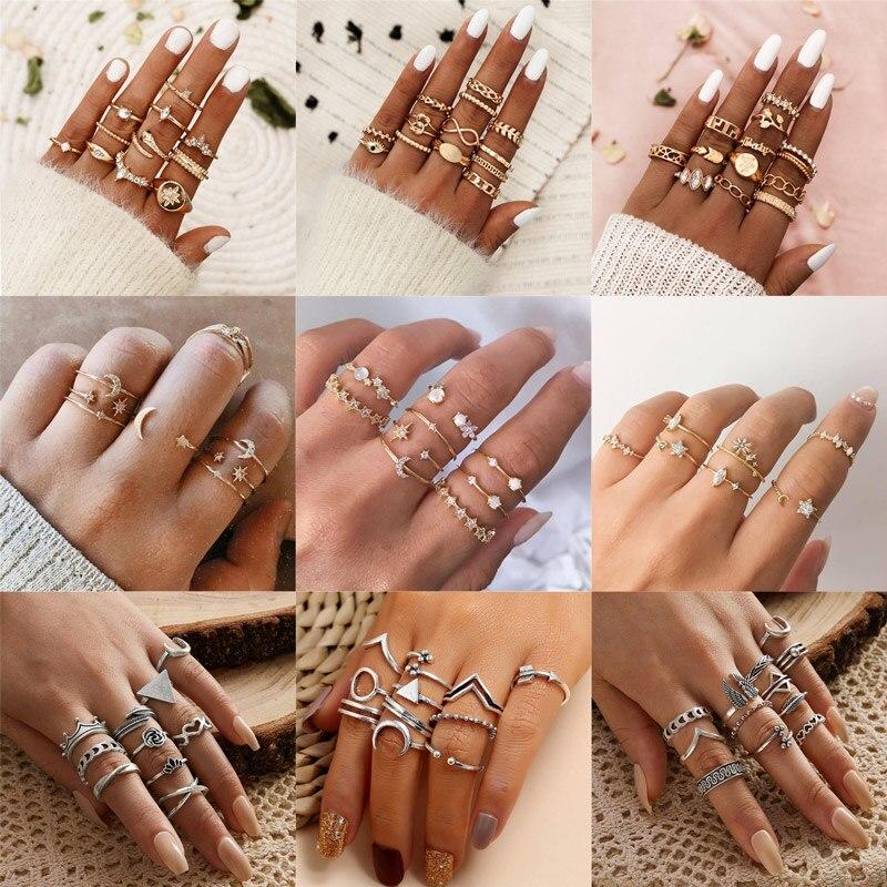 Modyle 2020 New Boho Vintage Gold Color Flower Rings Set For Women Crystal Midi Finger Ring 2020 Female Bohemian Jewelry Gifts