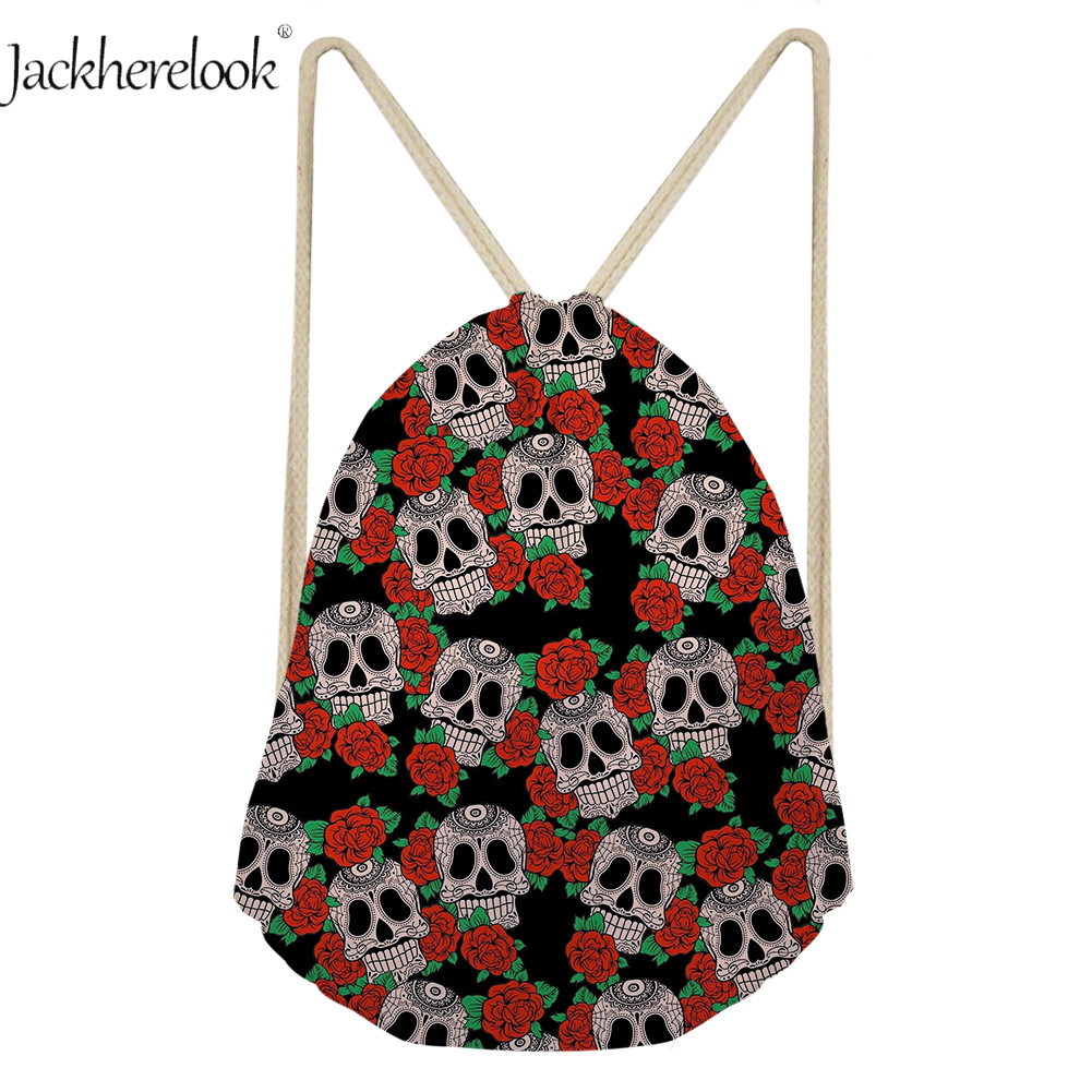 Jackherelook Cool 3D Flower Skull Print Travel Drawsting Bag Canvas Backpack Halloween Candy Gift Bag Daily Sack Storage Bags