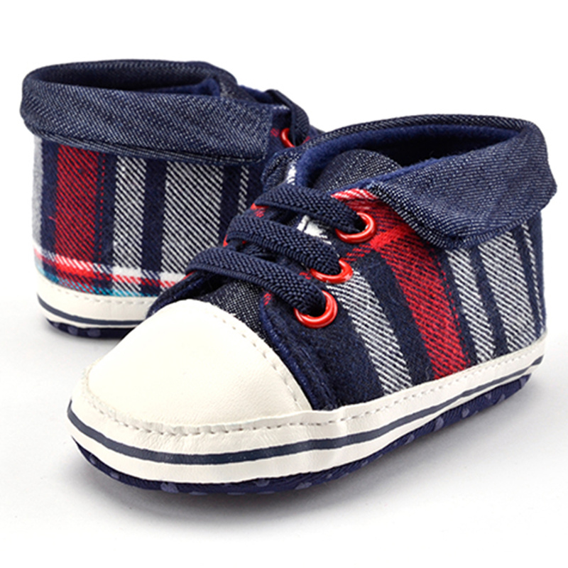 Infant Baby Boy Shoes Gingham Sneaker Canvas Cotton Fabric Sole Soft Newborn Toddler First Walkers Free Shipping Baby Shoes Girl