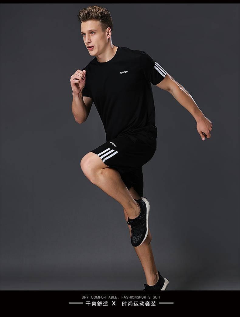 Sports Set Men's Summer Running Casual Soccer Uniform Short Sleeve Shorts Quick-Dry Breathable Basketball Sports Clothing