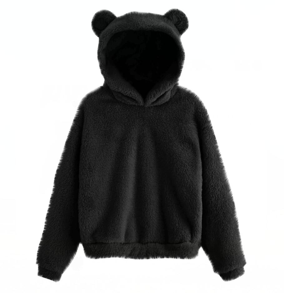 Lovely Fleece Animal Hoodies Women Sweatshirt Long Sleeve Warm Bear Ear Hooded Plush Hoody Pullover Lady Winter Tops 5