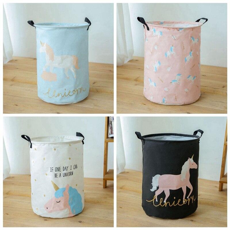 35*45cm Animal Unicorn Laundry Baskets Large Cotton Linen Clothing Storage Bucket Foldable Kids Toy Organizer Laundry Hamper 1Pc
