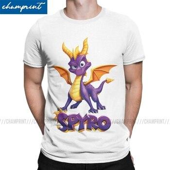 Camiseta Spyro The Dragon 2020 para hombre, camiseta a la moda con cuello redondo, camiseta púrpura de juego de dragón, Impresión de ropa de manga corta