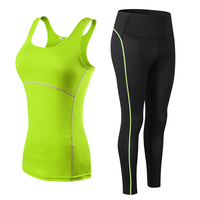 Women Fitness Suit Yoga Sets Gym Sleeveless Vest + Pants Running Tights Workout Sportswear Yoga Leggings yoga suit