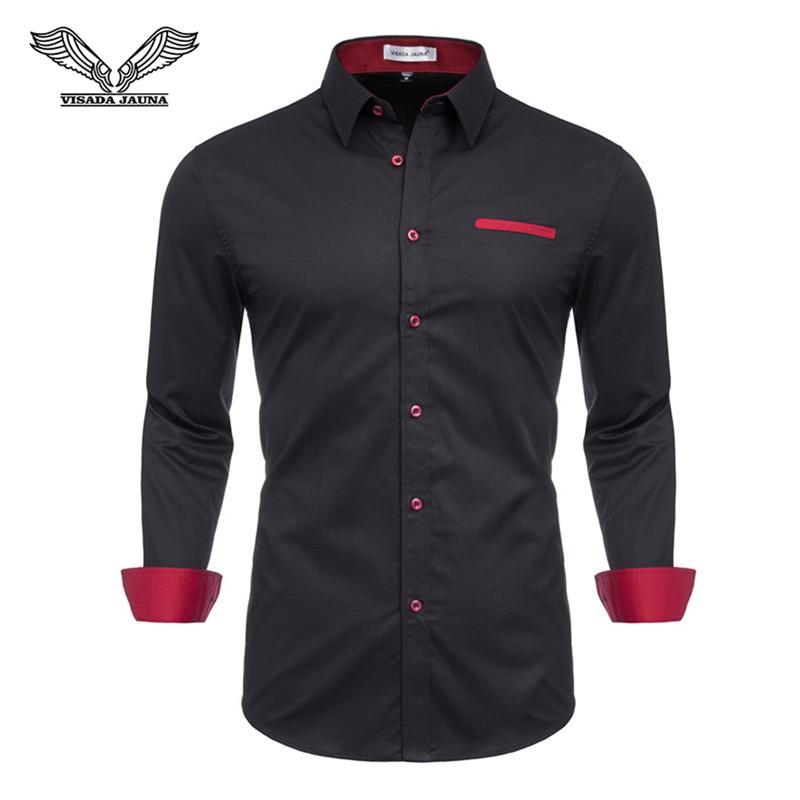 VISADA JAUNA 2019 Men's Large Size European And American Shirt Long Sleeve European Size M-3XL TLH43