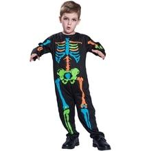 Halloween Kids Baby Boy Jumpsuit One Piece Long Sleeve Skeleton Print Romper #p