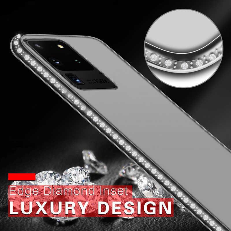Bling elmas şeffaf telefon kılıfı için Samsung Galaxy S20 Ultra A51 A71 A70 A50 A40 A20 not 10 artı yumuşak silikon arka kapak