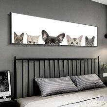 Скандинавский стиль наклейки для детской с животными живопись милые собака и кошка напечатанная Картина на холсте настенные картины для гостиной домашний декор