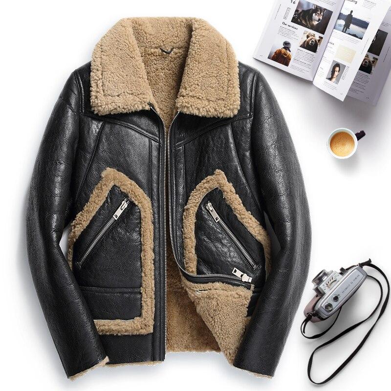 100% Natural Shearling Jacket Men Clothes 2020 Streetwear Real Fur Coat Man Moto Biker Slim Genuine Leather Jackets 744
