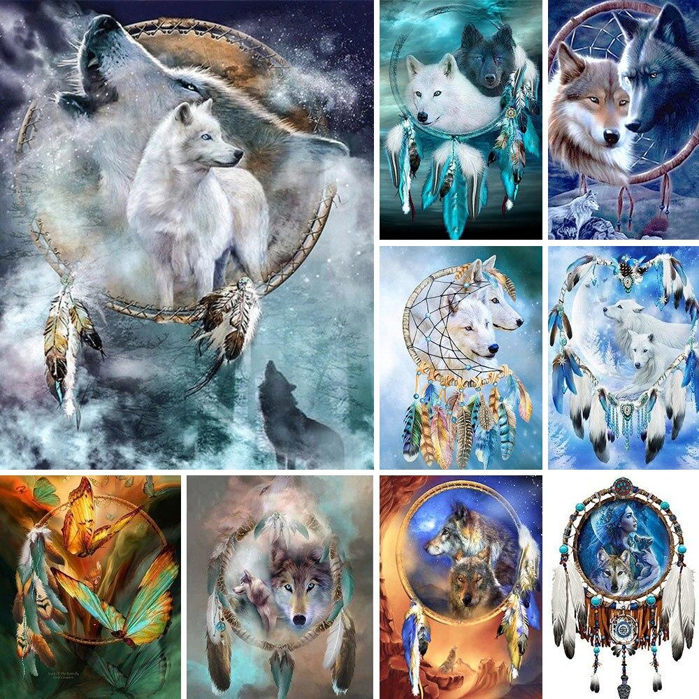 Ловец снов, волк, «сделай сам», вышивка крестиком, наборы 11CT, набор для рукоделия, холст с принтом, украшение для дома, новый дизайн, оптовая п...