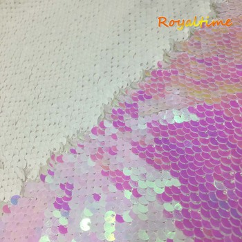 Double Face Sequins Fabric For Handbags Garments DIY Tissue Sewing Fabric Material Craft Making Accessories-Changed White image