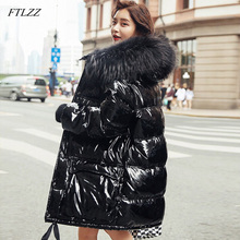 FTLZZ Large Real Natural Fur Patent Leather Winter Jacket Women Thicken Long