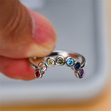 Charm Female Small Round Colorful Ring Fashion Silver Rainbo