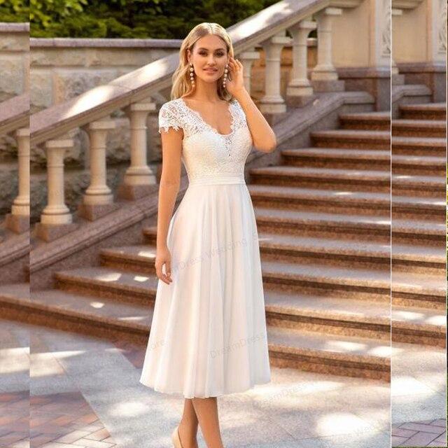 V-Neck Wedding Dress 2021 Short Sleeve Peals A-line Ankle Length Bridal Gown Robe De Mariee For Petite Women Brides Gorgeous 1