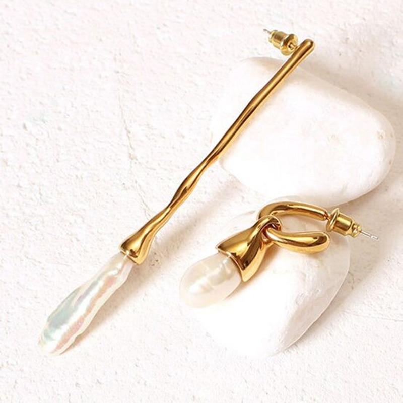 Peri'sBox Natural Freshwater Pearl Gold Drop Earrings Long Bar Irregular Earrings Drops Vintage C Shape Asymmetric Earrings 2019
