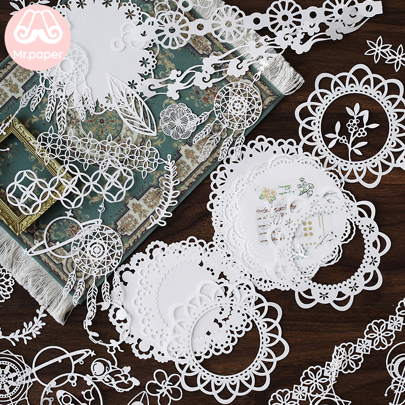 Mr.paper 6 Designs 10Pcs/pack Star Universe Dreamcatcher White Lace Paper Loose Leaf Bullet Journal Homemade White Lace Memo Pad