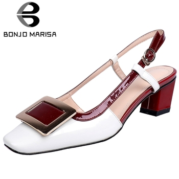 BONJOMARISA Fashion Ladies Summer Sandals Back Strap High Heels Mixed Color Sandals Women Leisure Casual Shoes Woman