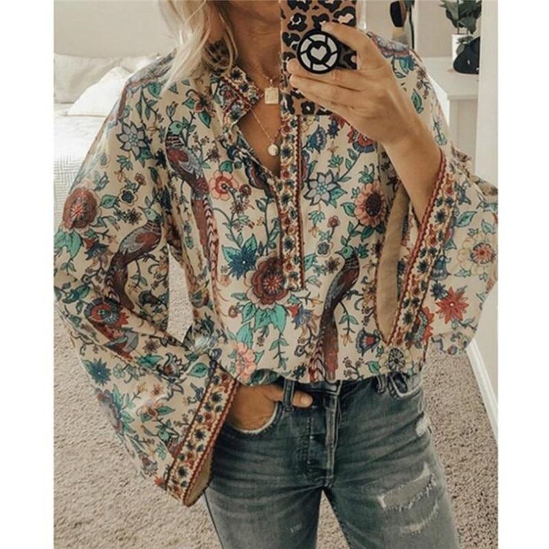 Женская блузка, Женская Офисная рубашка, Топ с длинным рукавом, с принтом, на пуговицах, летние рубашки, топы размера плюс, 2XL, Blusas Mujer De Moda