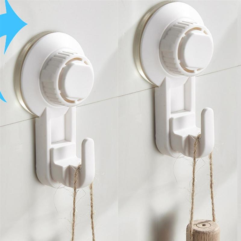 2pcs Suction Cup Hooks Punch-Free Hook Wall-Mounted Hook Pothook Clothes Hanger White