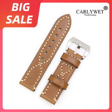 CARLYWET 20 22 24 26mm Top Brown Real Leather Watch Band For Zenith Omega Montblanc Panerai Daytona Submariner Tissot Tag Heuer