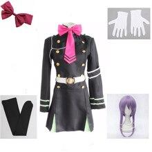 Anime japonais séraphin de la fin Owari pas séraphin Hiiragi Shinoa Cosplay Costumes uniforme complet