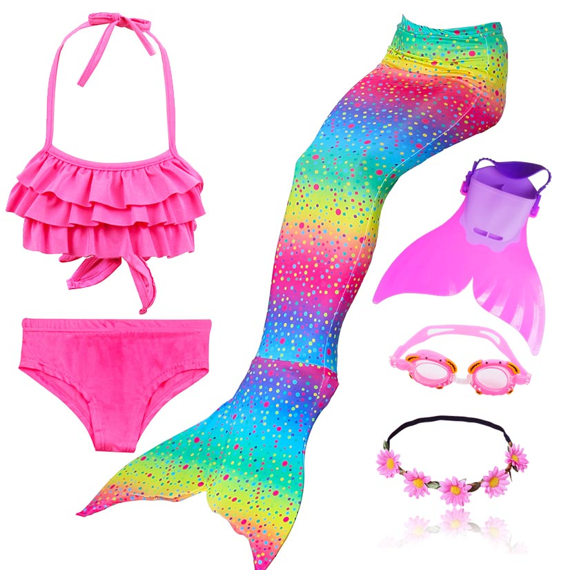 Hot Swimmable Mermaid Tail For Girls Swimming Bating Suit Mermaid Costume With Monofin Flipper Or With Mermaid Wig
