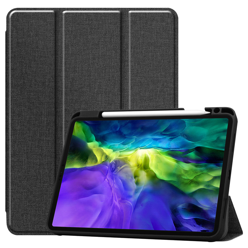 Black Other Funda For iPad Pro 11 2020 Case With Pencil Holder Smart Cloth Textured Stand TPU Soft