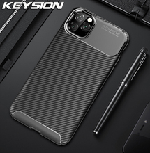 KEYSION Phone Case for iPhone 11 Pro Max Carbon Fiber Texture Soft Silicone Shockproof Back Cover 2019 New