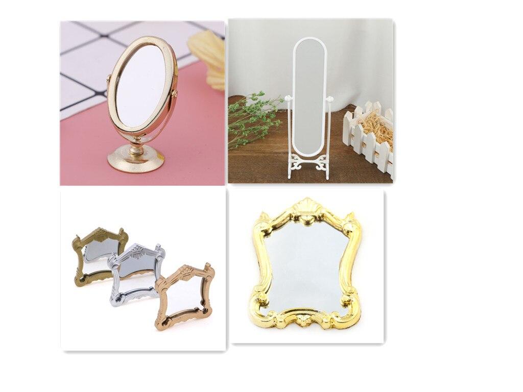 1/5pcs Metal Practical Bathroom House Miniature Vintage Glod Sliver Rose Gold Vanity Mini Mirror 1/12 Scale Dolls Furniture Toy