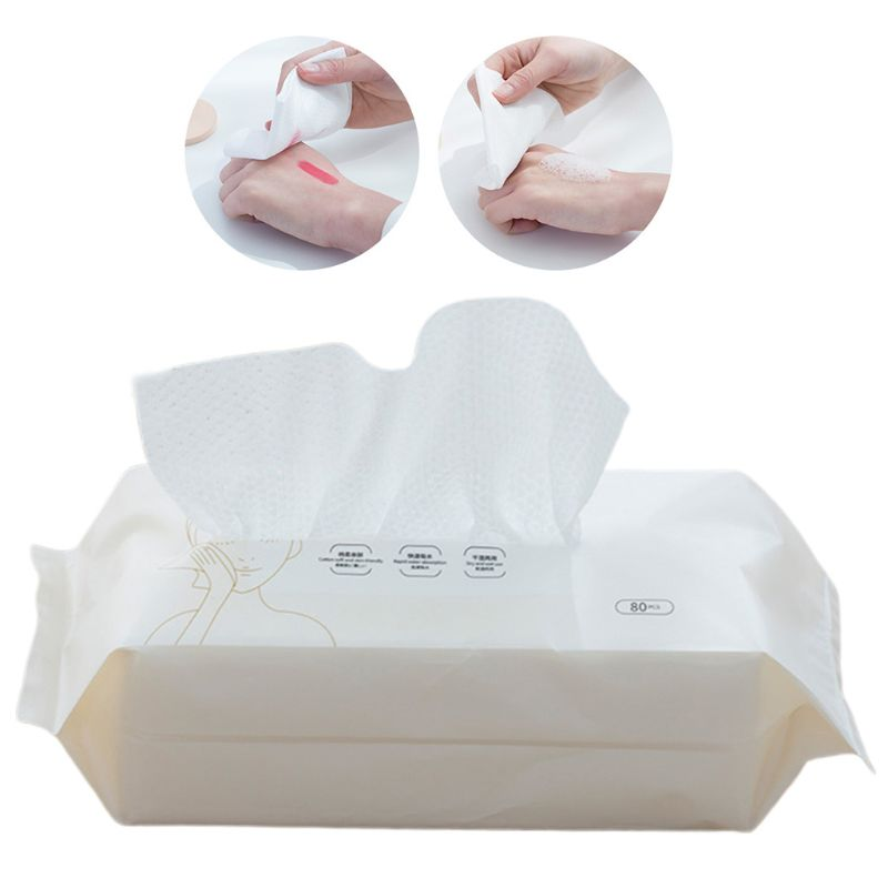 80pcs/pack Disposable Cotton Face Tissue Towel Wipes Makeup Remover Facial Cleansing Washcloth Pearl Home Travel Wet Dry Q0KD