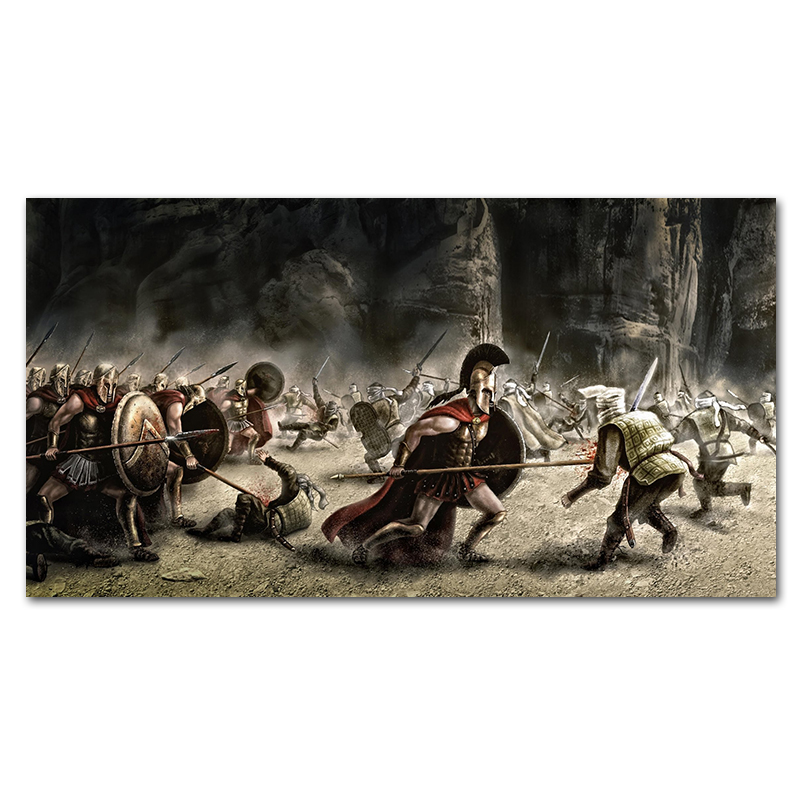 300 Spartan Warriors With Spears Shield Art Silk Poster 12x18 24x36