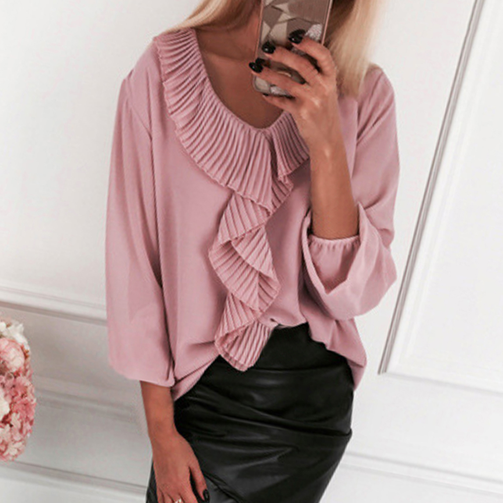 2020 Women Solid Color Casual Blouse Loose Patchwork Women Long Sleeve Rib Ruffle Front V Neck Puff Shirt Pullover Tops