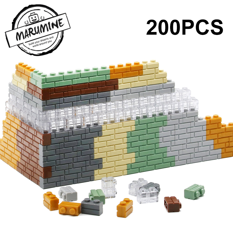 MARUMINE 1x2 Dots Cube Bricks 98283 Houses Wall Building Blocks Classic DIY MOC My City Set Learning Educational Toy For Kids