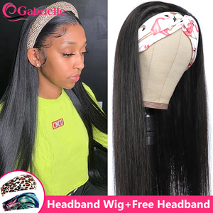 Cheap Headband Wigs for Black Women Short Straight Hairband Human Hair Half Wig with Elastic Band Gabrielle Brazilian Remy Hair