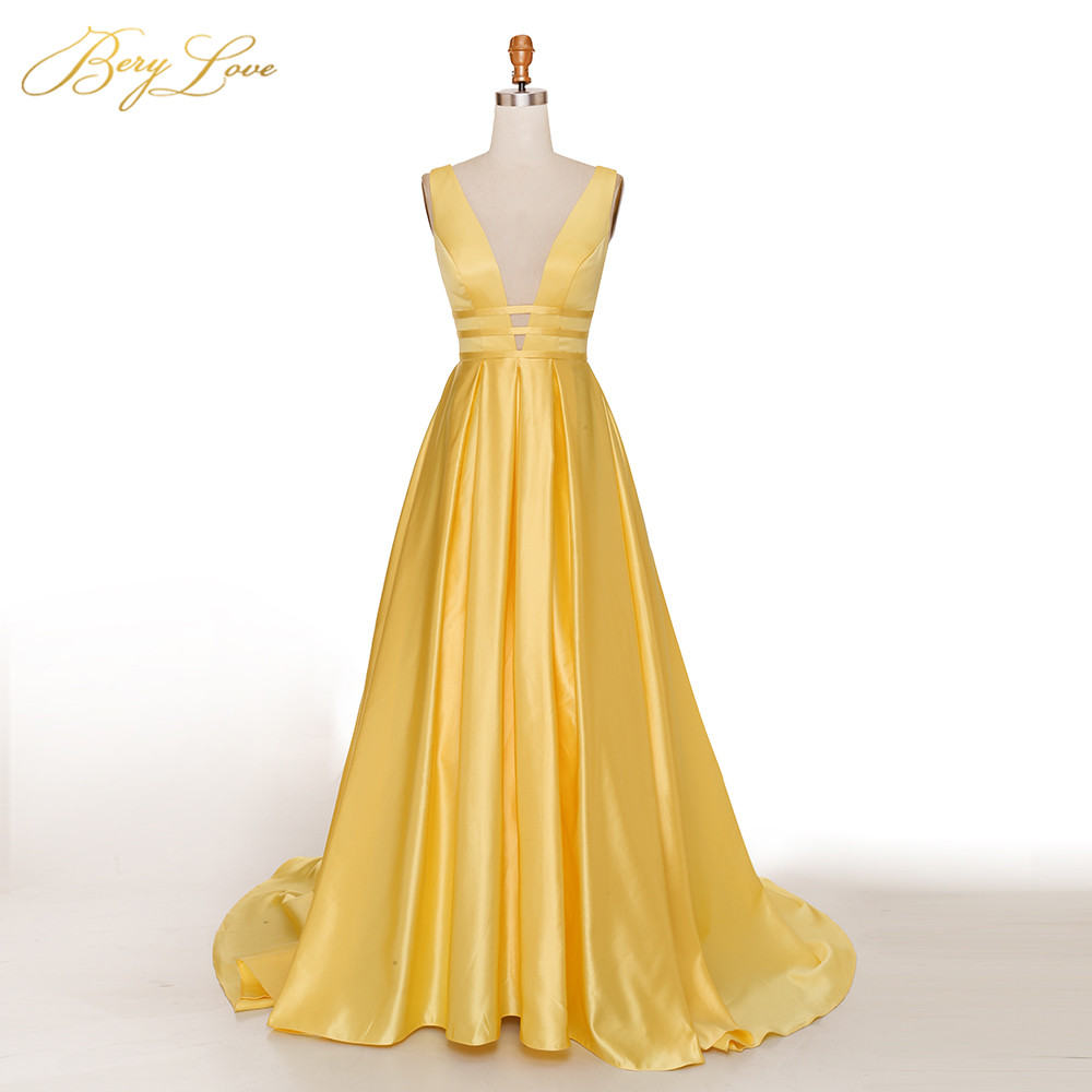 Berylove Sexy Bright Yellow A line   Evening     Dress   2019 Elegant Satin   Evening   Gown Long Formal Girl Prom Party   Dresses   vestido