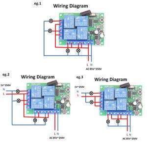 Image 4 - 433 433mhzのユニバーサルワイヤレスリモートスイッチac 110v 220v 10Amp 2200 ワット 4CHリレー受信機モジュールrfコントローラライト/ledオープナー