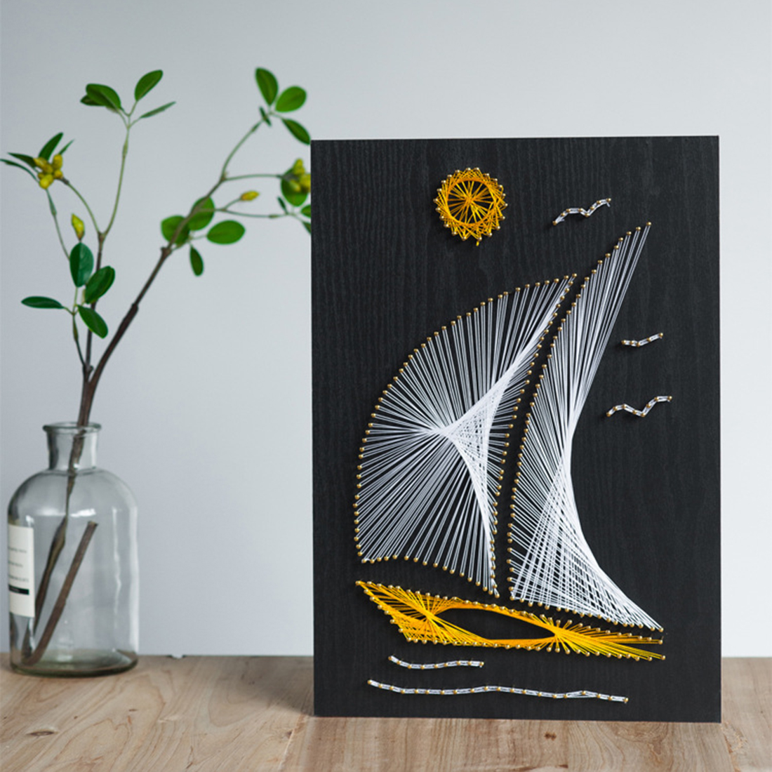 DIY Nail String Art Kit Plain Sailing Winding Lines Drawing Painting Art Kit With Frame For Kids Adults Beginners Home Decor