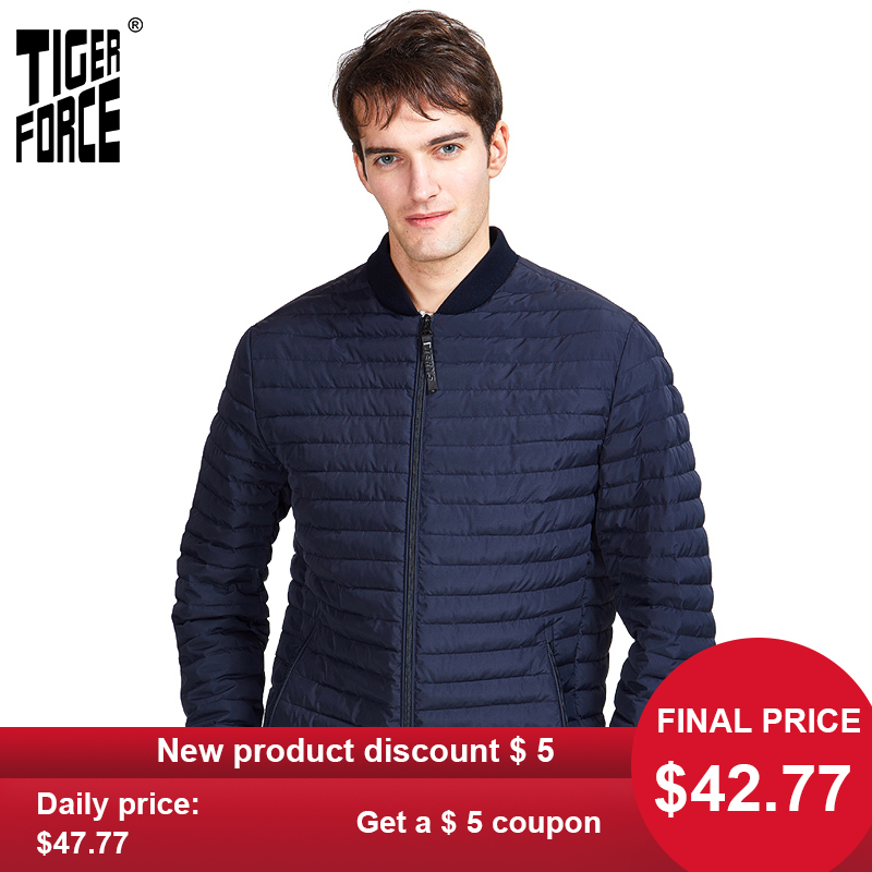 TIGER FORCE 2020 New Spring Men Short  Jacket High Quality Fashion Parka Clothes Outerwear Business Casual Lightweigh TJBW-50602