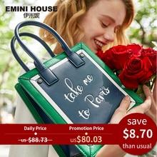 EMINI HOUSE Paris Series Tote Bag For Women Shoulder Bags Luxury Handbags Women Bags Designer Split Leather Purses And Handbags цена