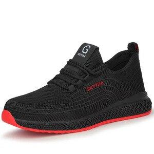 Image 4 - Męskie buty robocze bhp mężczyźni stal zewnętrzna Toe obuwie wojskowe bojowe botki niezniszczalne stylowe oddychające sneakersy